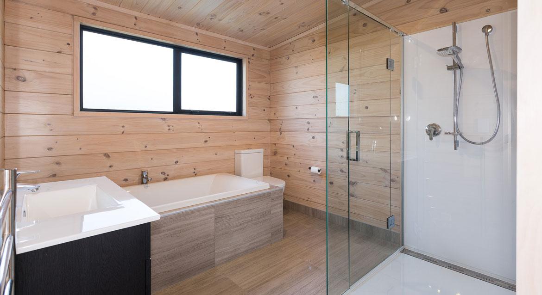 Lockwood Home bathroom walk in shower with bath