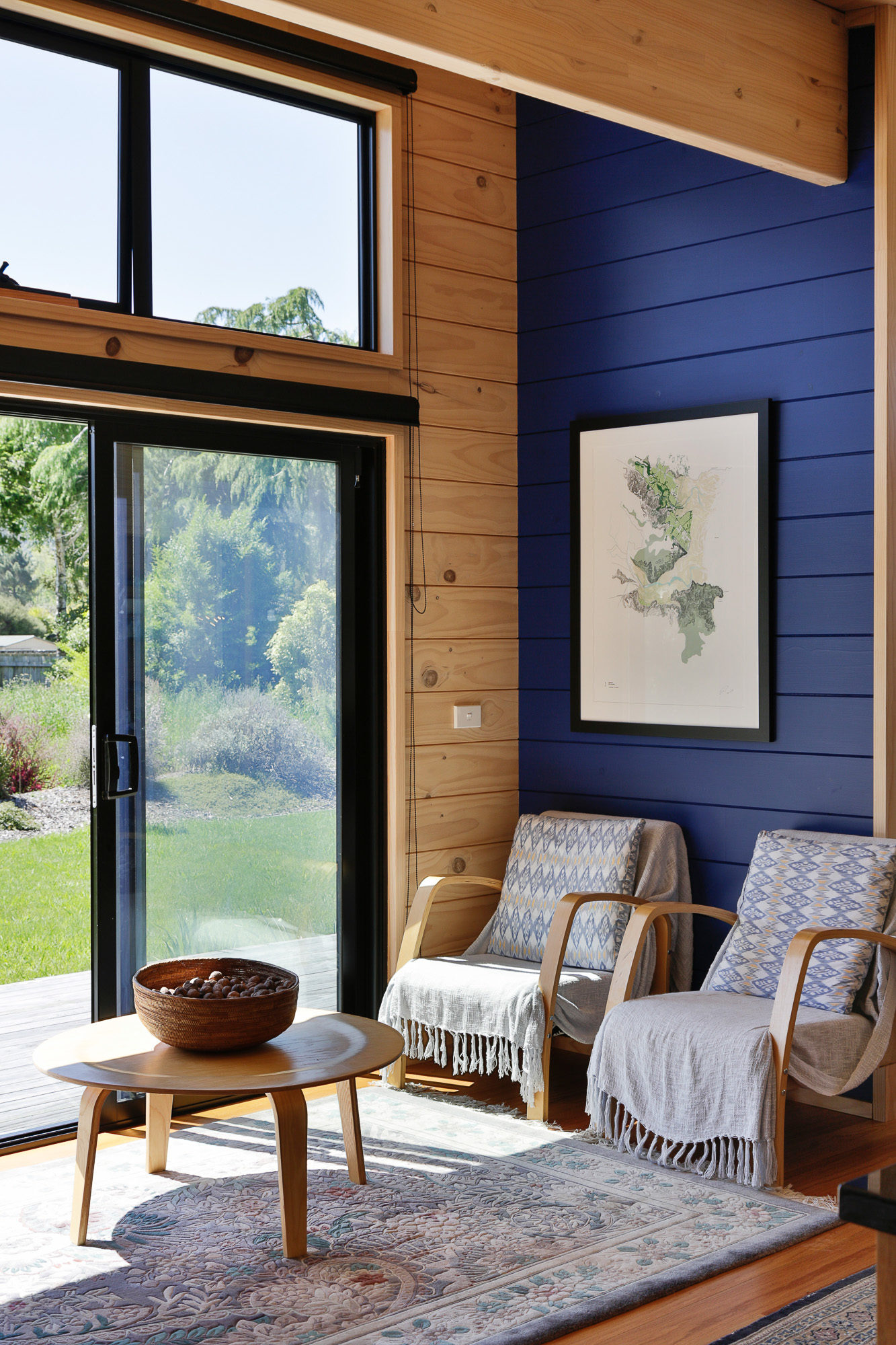 Lockwood holiday home with Resene Aviator blue walls