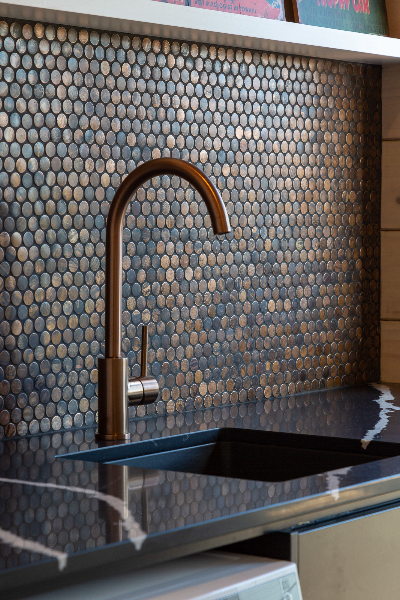 Copper penny tile splashback idea