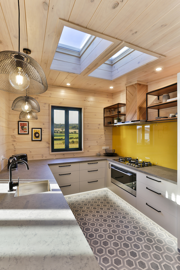 Yellow splashback in Lockwood kitchen